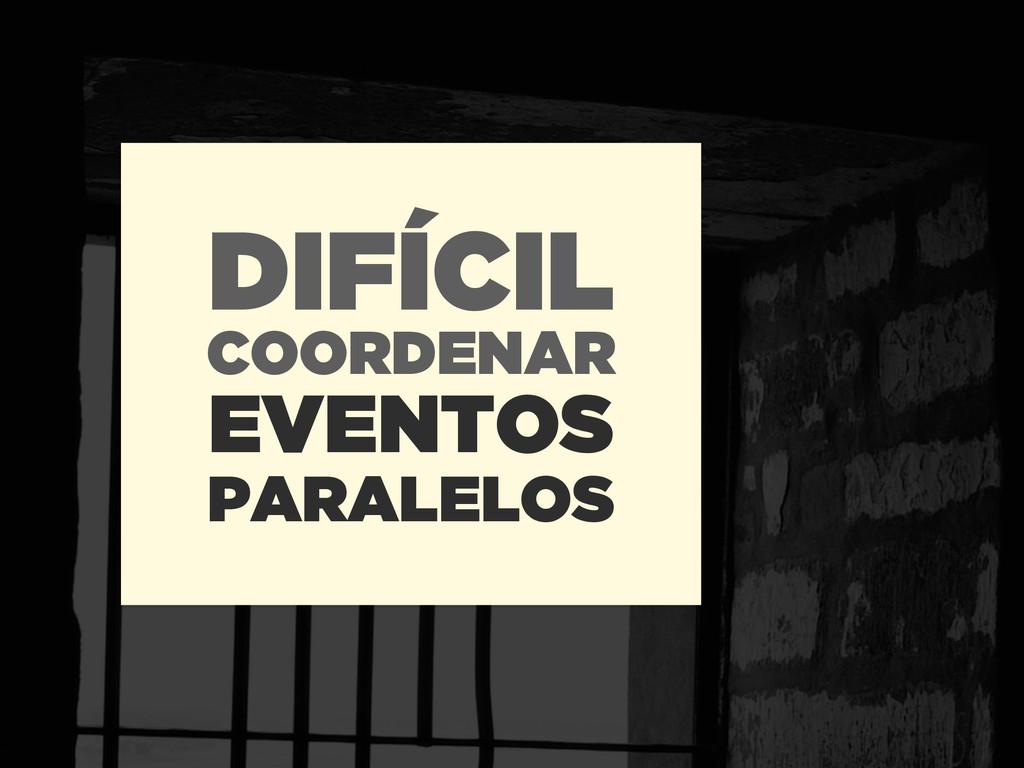DIFÍCIL EVENTOS COORDENAR PARALELOS