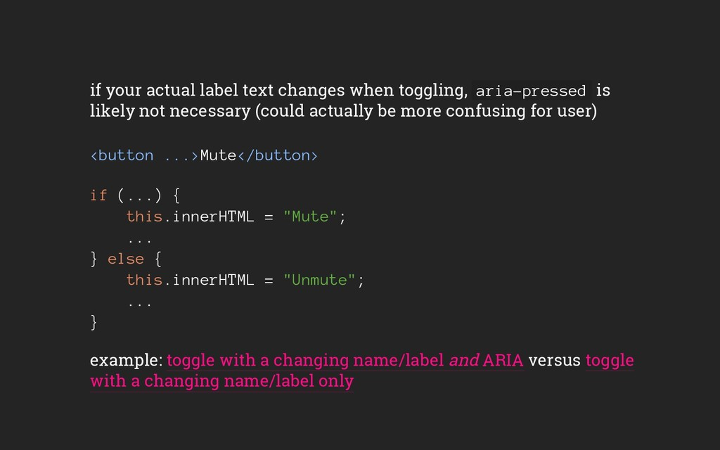 if your actual label text changes when toggling...