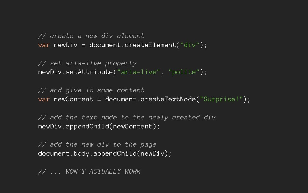 // create a new div element var newDiv = docume...