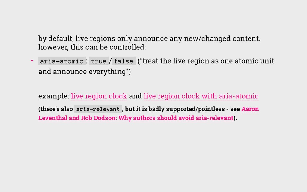 by default, live regions only announce any new/...