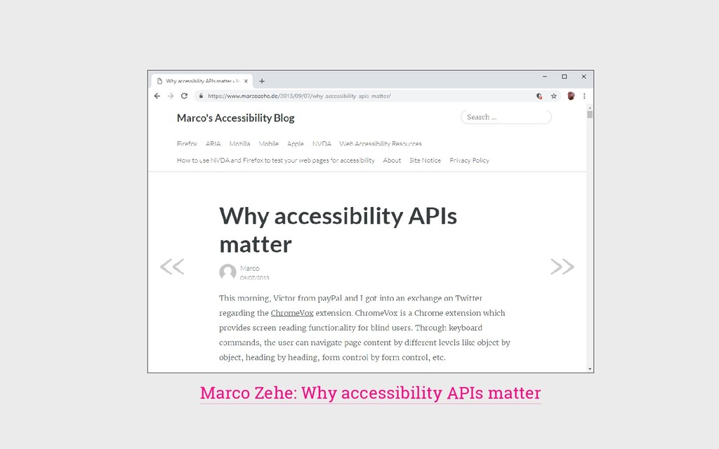 Marco Zehe: Why accessibility APIs matter
