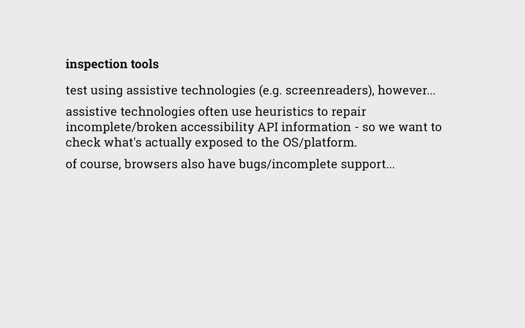 inspection tools test using assistive technolog...