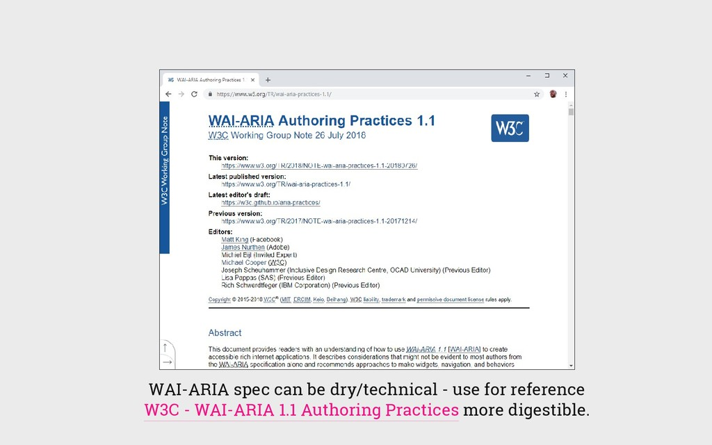 WAI-ARIA spec can be dry/technical - use for re...