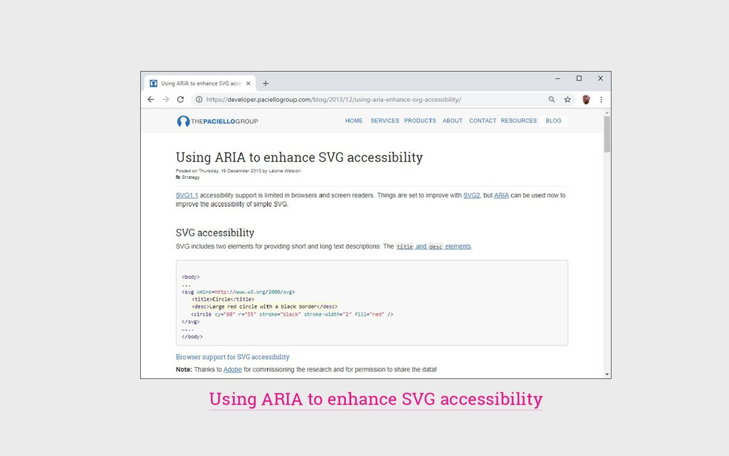 Using ARIA to enhance SVG accessibility