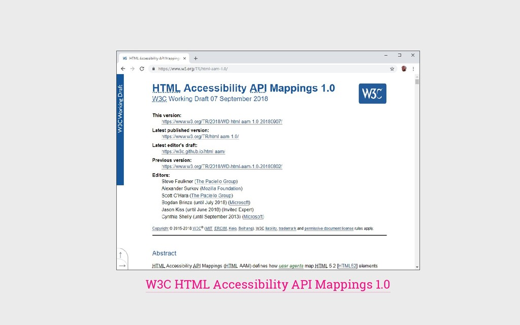 W3C HTML Accessibility API Mappings 1.0