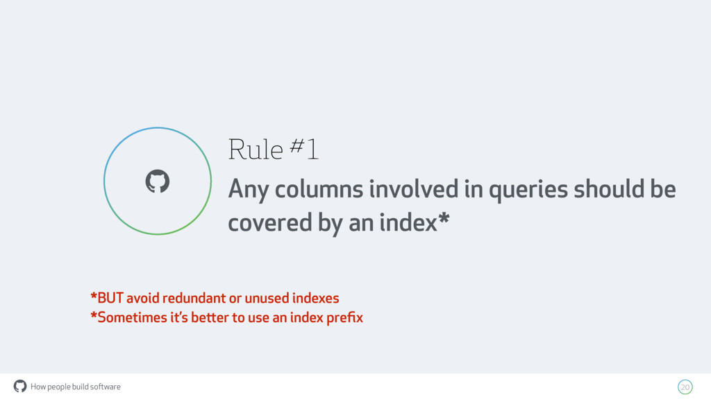 How people build software ! Rule #1 Any columns...