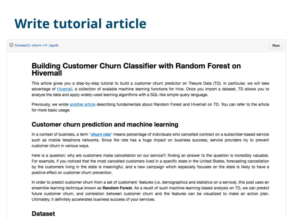 Write tutorial article