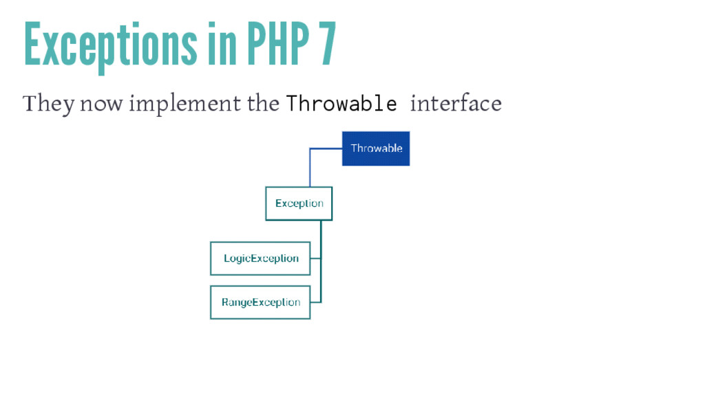 Exceptions in PHP 7 They now implement the Thro...