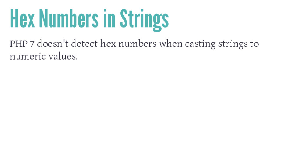 Hex Numbers in Strings PHP 7 doesn't detect hex...