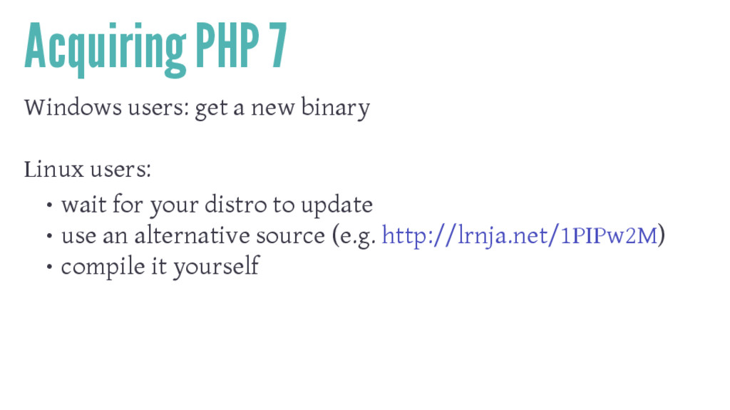 Acquiring PHP 7 Windows users: get a new binary...