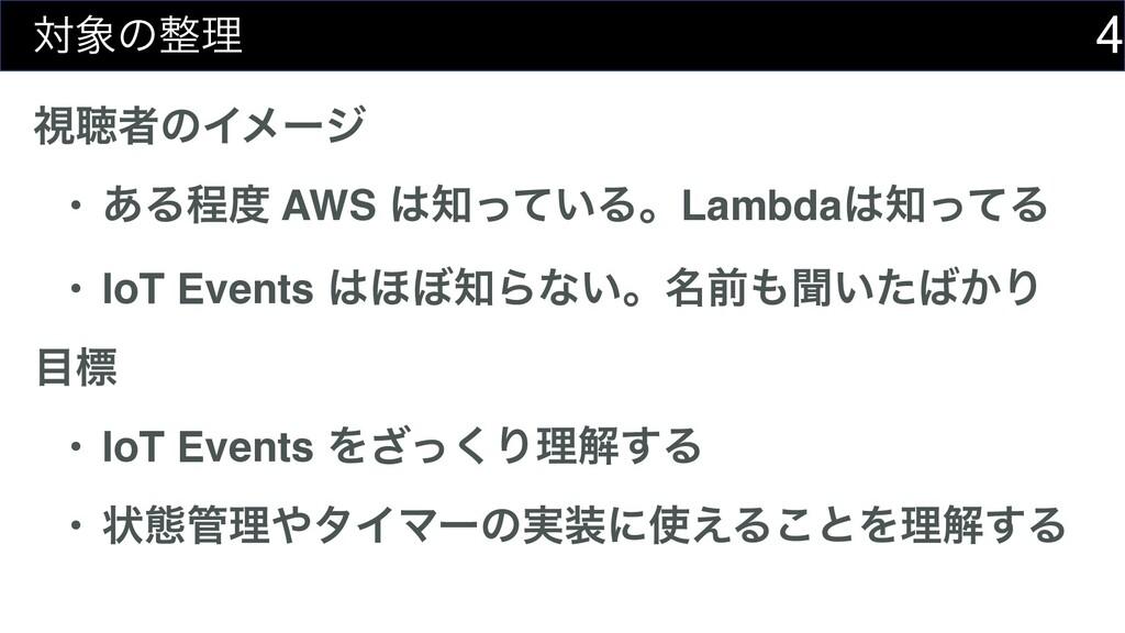 4 ରͷཧ ࢹௌऀͷΠϝʔδ • ͋Δఔ AWS ͍ͬͯΔɻLambdaͬͯΔ ...