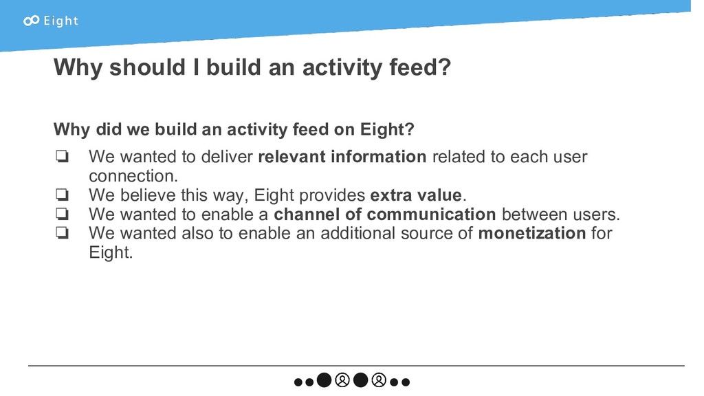 Why did we build an activity feed on Eight? ❏ W...