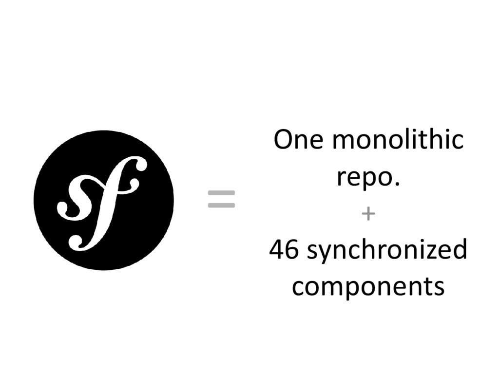 One monolithic repo. + 46 synchronized componen...