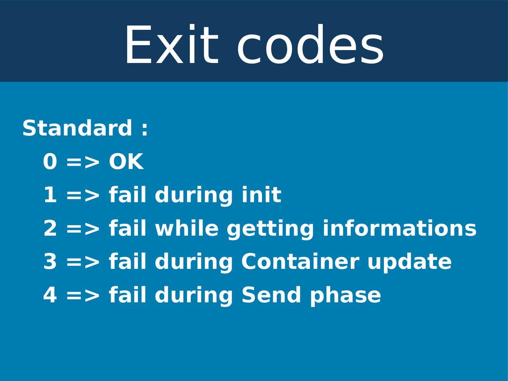 Standard : 0 => OK 1 => fail during init 2 => f...