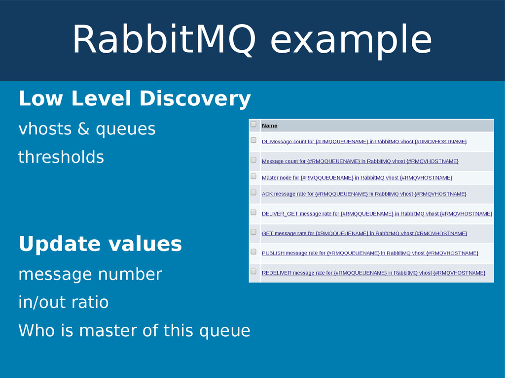 Low Level Discovery vhosts & queues thresholds ...