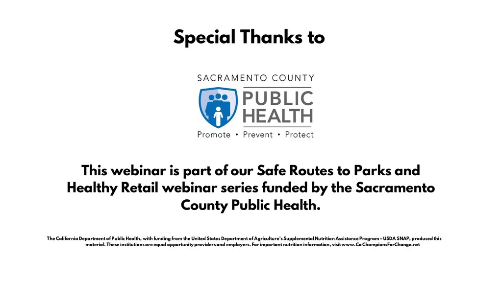 This webinar is part of our Safe Routes to Park...