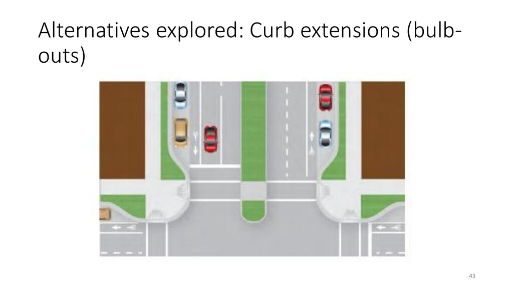 Alternatives explored: Curb extensions (bulb- o...