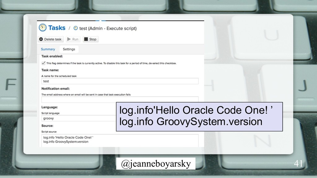 @jeanneboyarsky 41 log.info'Hello Oracle Code O...