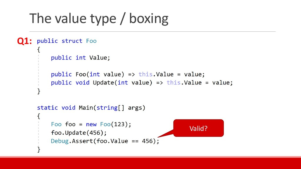The value type / boxing Valid? Q1: