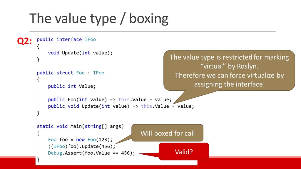 The value type / boxing Valid? The value type i...