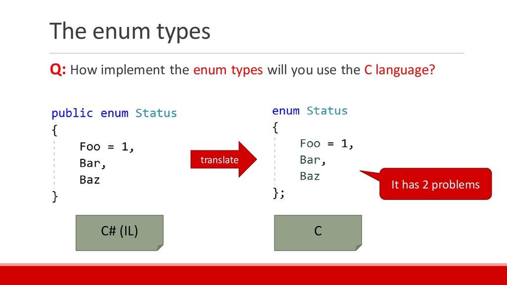 The enum types Q: How implement the enum types ...