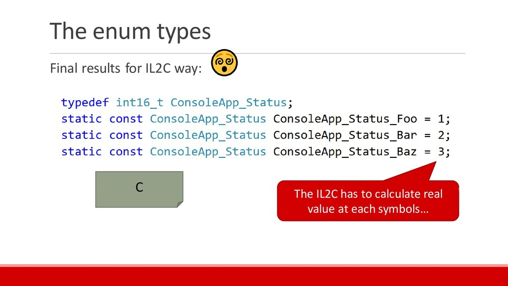 The enum types Final results for IL2C way: C Th...