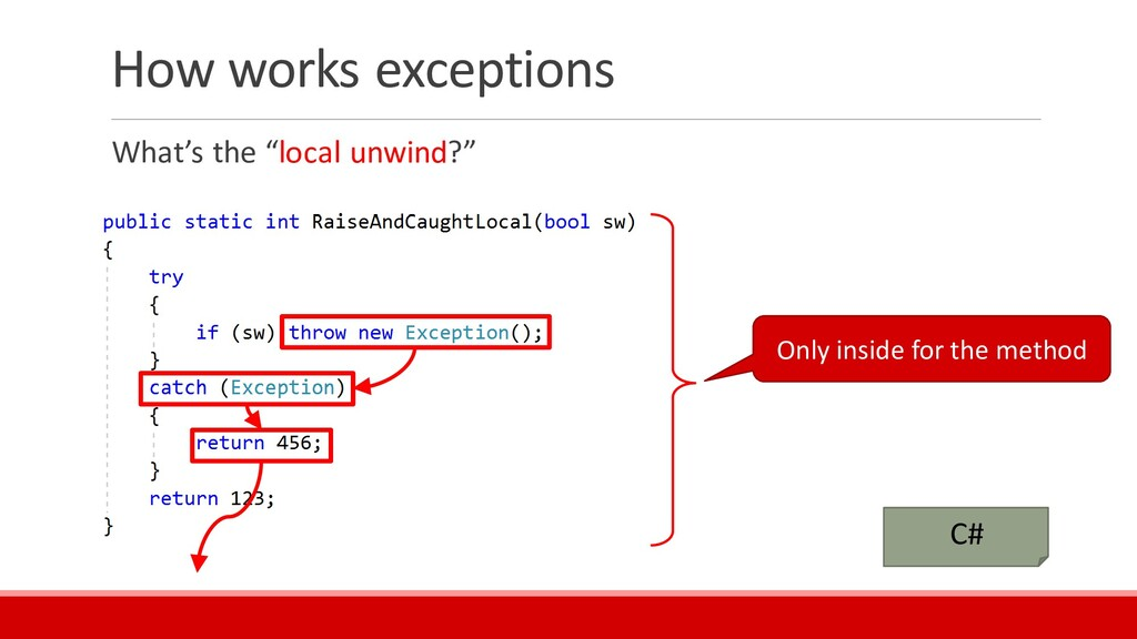 """How works exceptions What's the """"local unwind?""""..."""