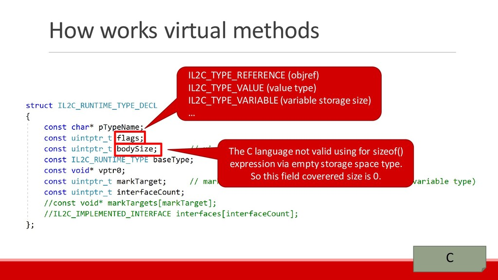 How works virtual methods C IL2C_TYPE_REFERENCE...