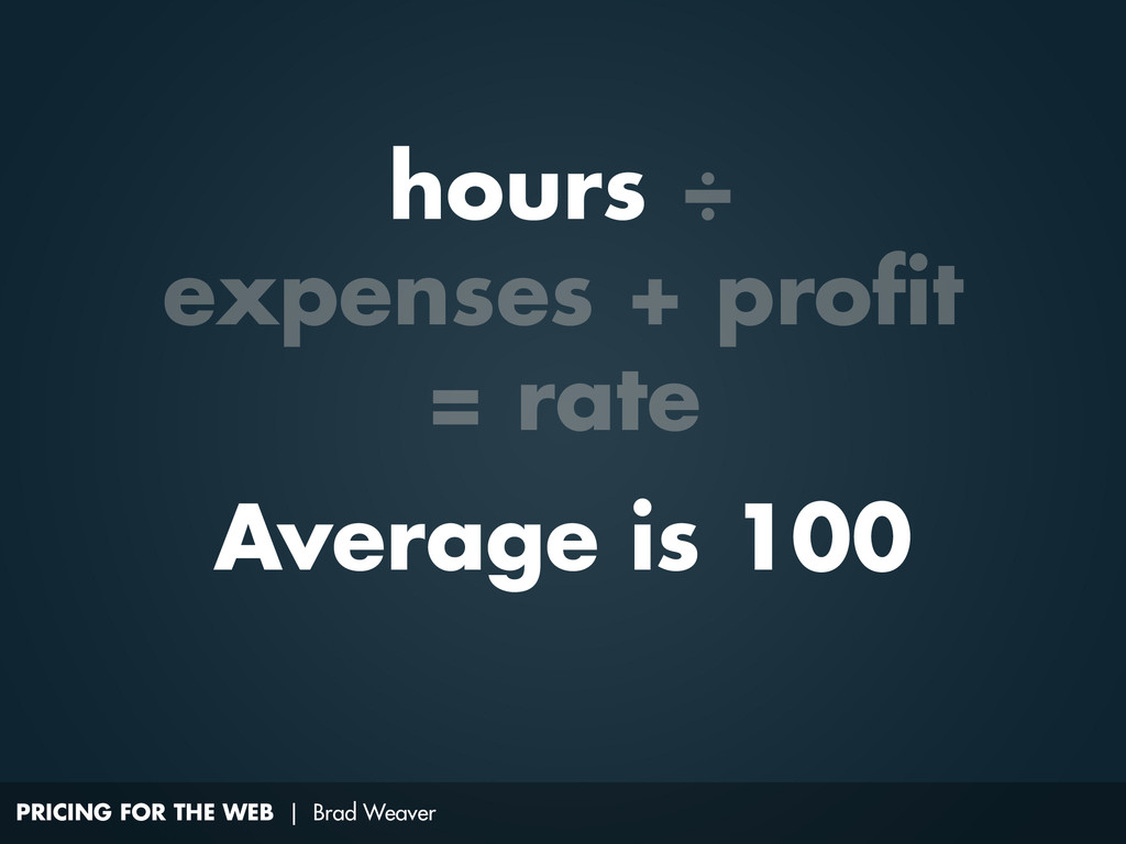 PRICING FOR THE WEB | Brad Weaver Average is 10...