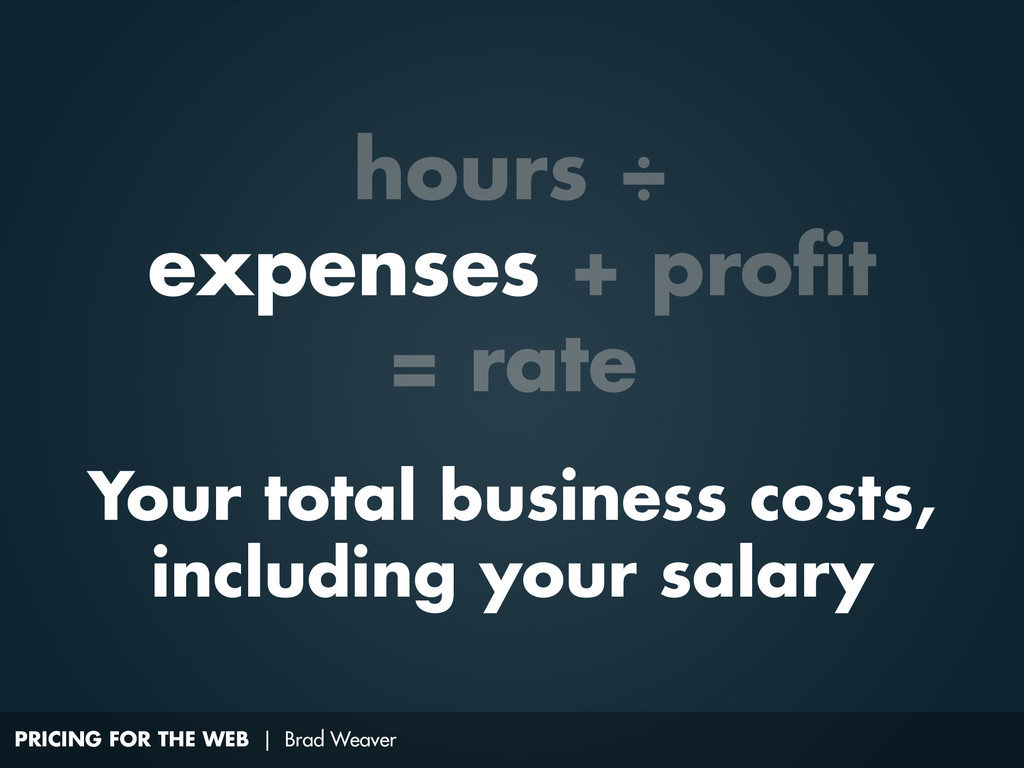 PRICING FOR THE WEB | Brad Weaver Your total bu...