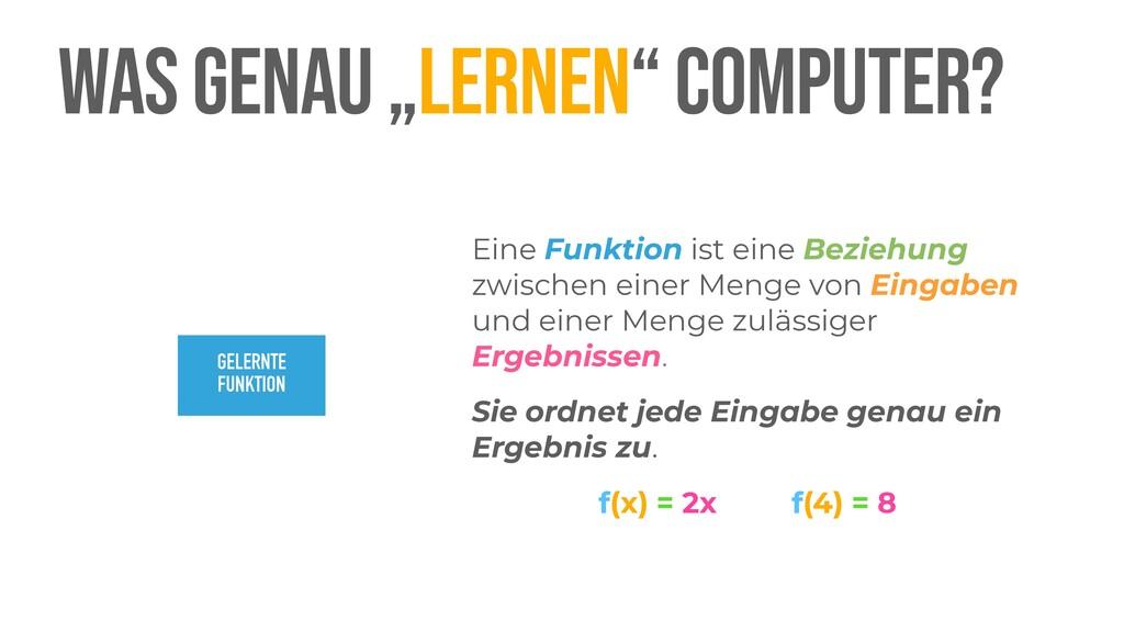 """WAS GENAU """"LERNEN"""" COMPUTER? Eine Funktion ist ..."""