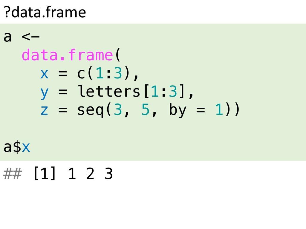 ?data.frame a <- data.frame( x = c(1:3), y = le...
