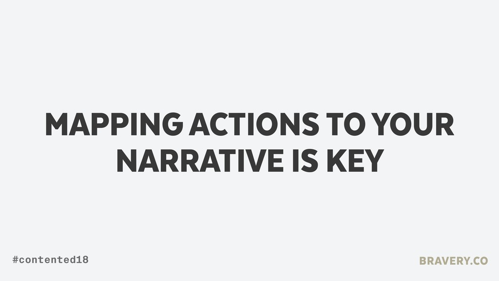 MAPPING ACTIONS TO YOUR NARRATIVE IS KEY BRAVER...