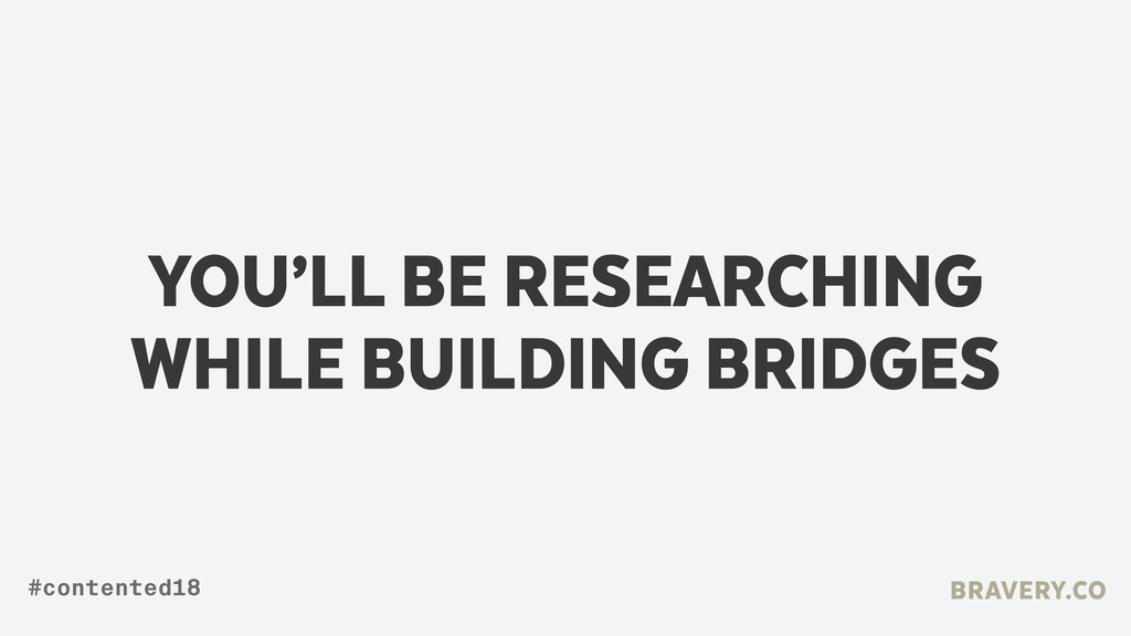 YOU'LL BE RESEARCHING WHILE BUILDING BRIDGES BR...