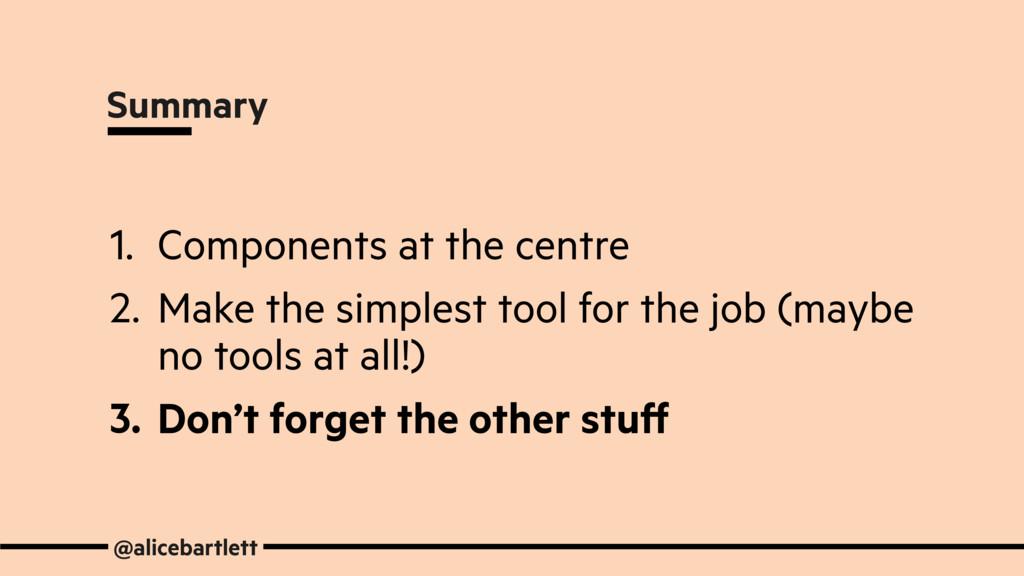 @alicebartlett Summary 1. Components at the cen...