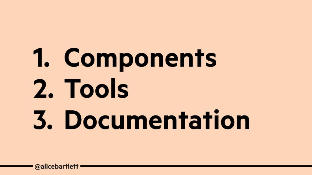 1. Components 2. Tools 3. Documentation @aliceb...