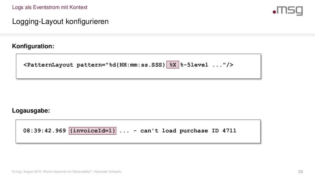 Logs als Eventstrom mit Kontext Logging-Layout ...