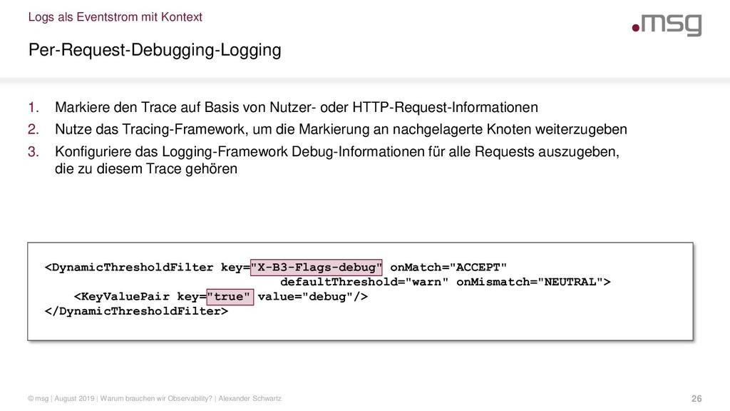 Logs als Eventstrom mit Kontext Per-Request-Deb...