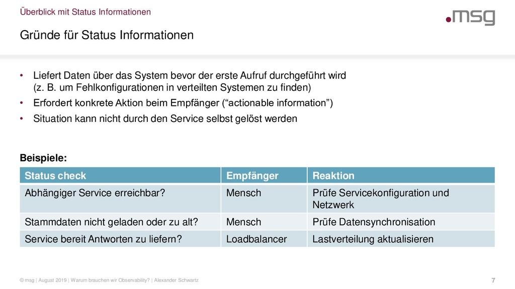 Überblick mit Status Informationen Gründe für S...