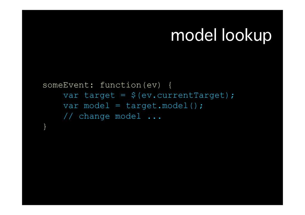 model lookup� someEvent: function(ev) { var tar...