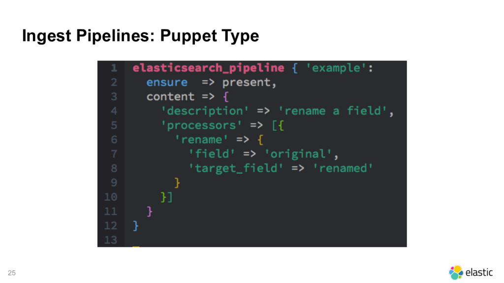 25 Ingest Pipelines: Puppet Type