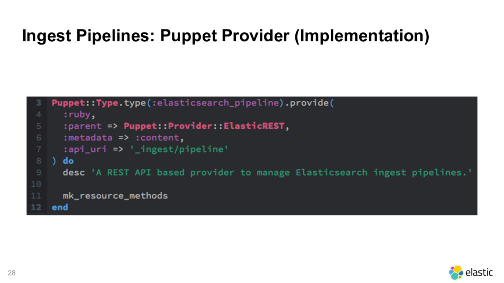 28 Ingest Pipelines: Puppet Provider (Implement...