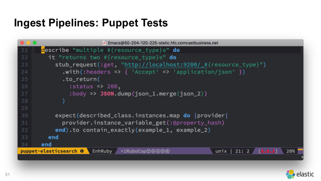 31 Ingest Pipelines: Puppet Tests