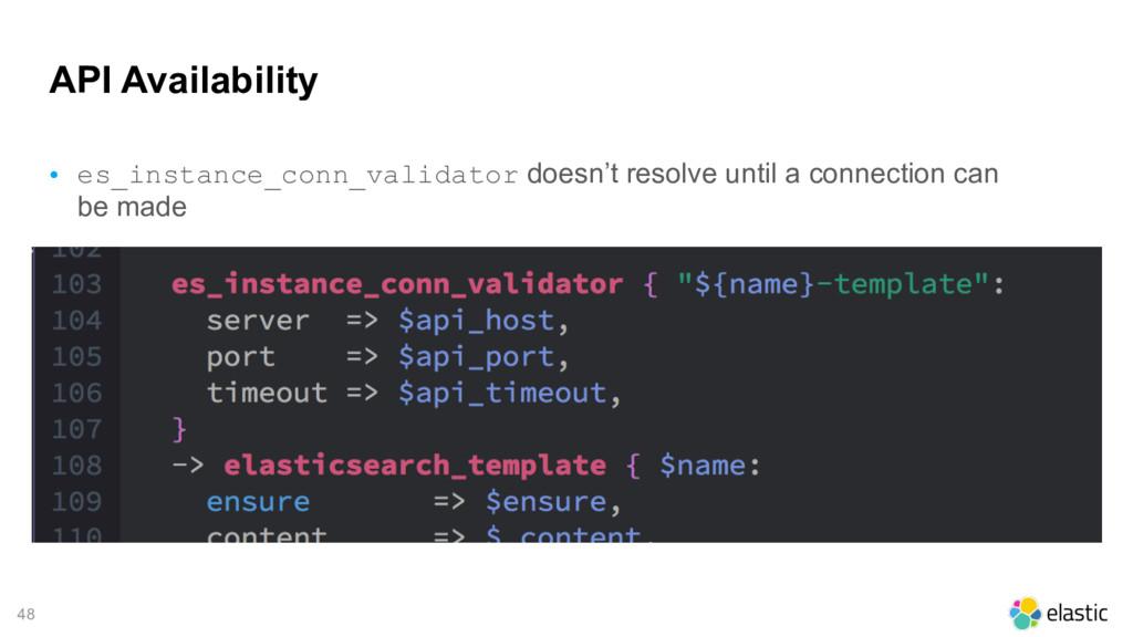 48 API Availability • es_instance_conn_validato...