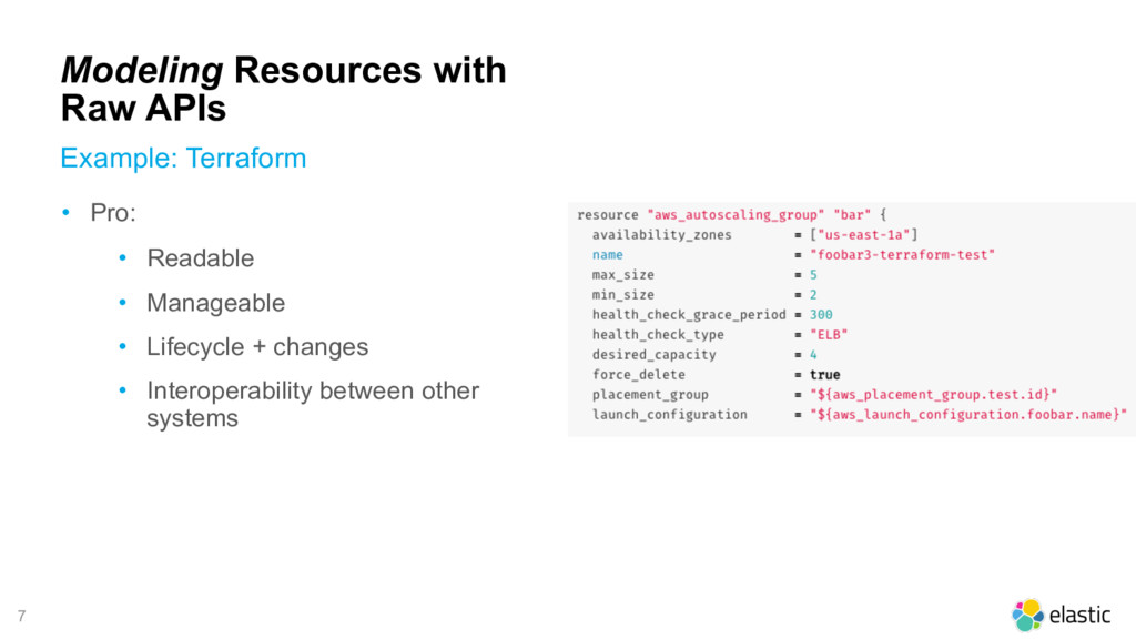 7 Modeling Resources with Raw APIs Example: Ter...