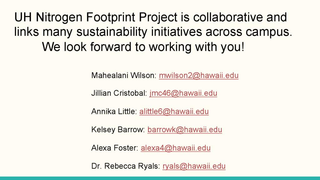 UH Nitrogen Footprint Project is collaborative ...