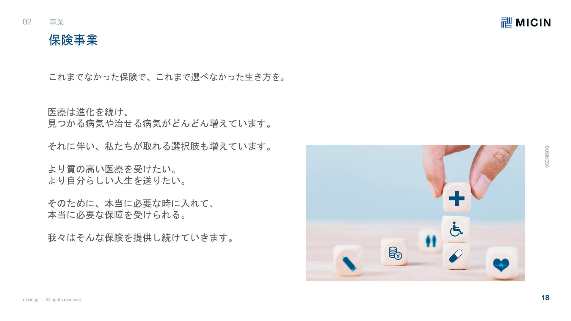 micin.jp   All rights reserved 18 事業 BUSINESS 事...