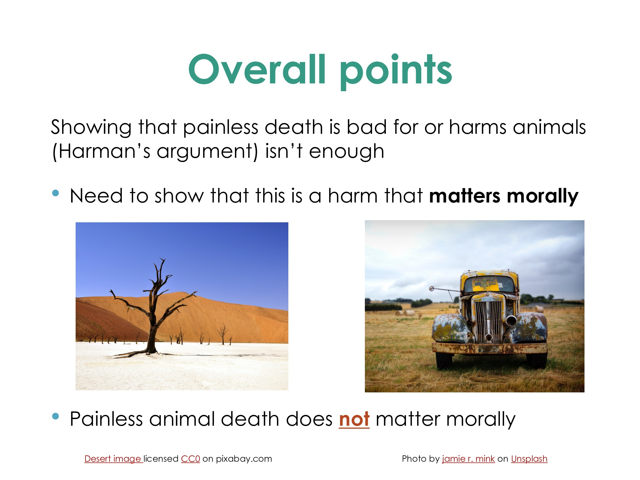 Overall points Showing that painless death is b...