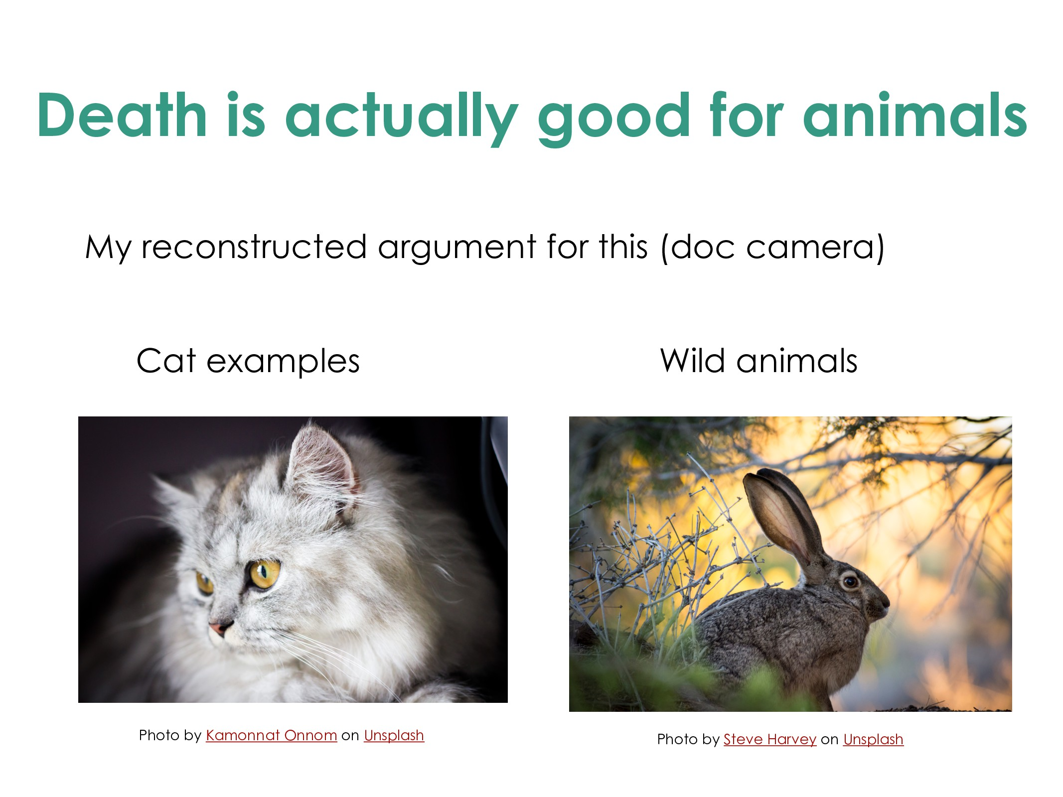 Death is actually good for animals My reconstru...