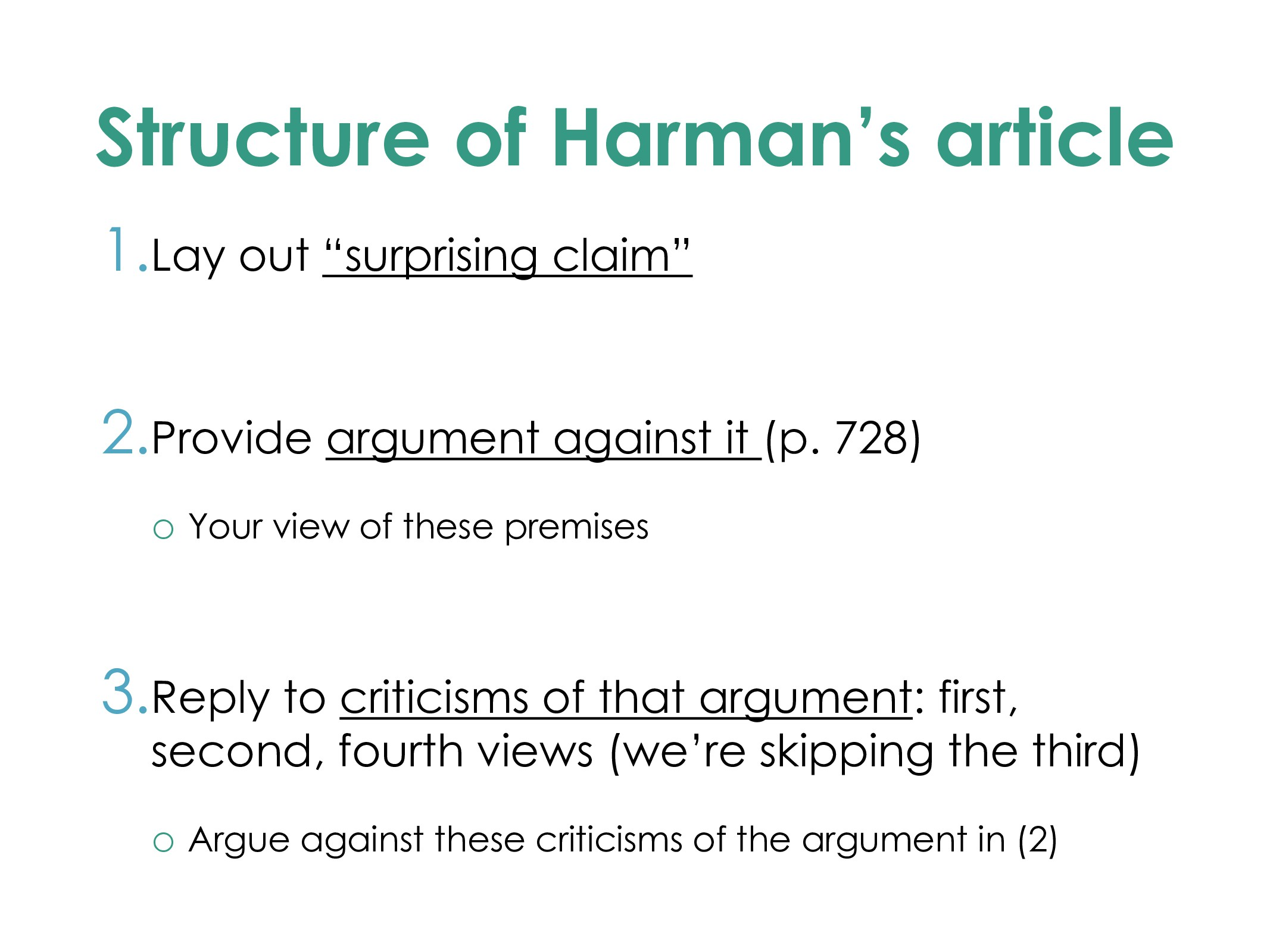 """Structure of Harman's article 1.Lay out """"surpri..."""